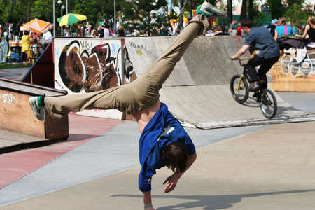 Break dancer in city park. Stock Photo