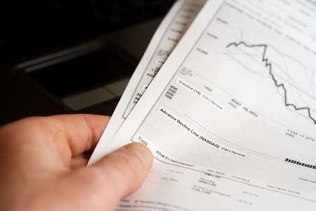 Reports on stock exchange trends. photo