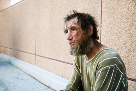 Despair of the poor homeless beggar.