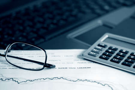 Analysis of stock market reports. photo