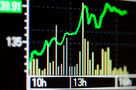 Close-up of stock market graphs on lcd screen. Stock Photo - 4496746