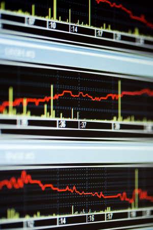 Stock market graphs on thу lcd screen. photo