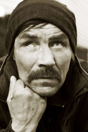 Homeless tramp. photo