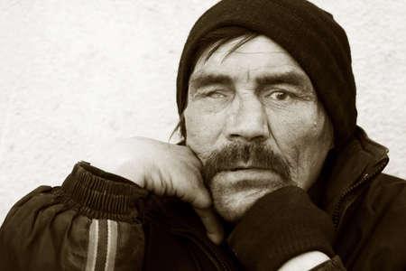 Homeless tramp. photo
