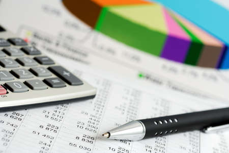 Financial balance and stock market reports. Stock Photo