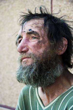 Despair of the poor homeless. photo