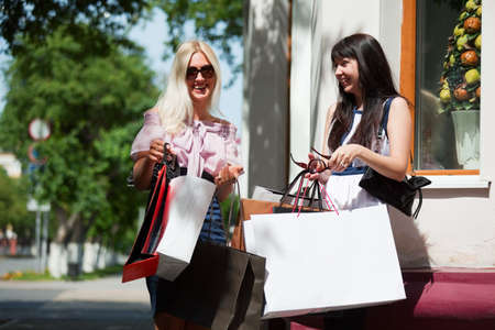 Two young women with shopping bags. Stock Photo - 7315196
