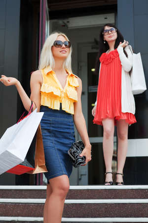 Two young women with shopping bags. Stock Photo - 7315191
