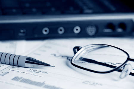 Analysis of financial reports. photo