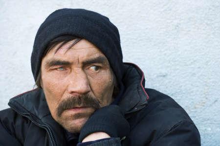 Portrait of homeless. photo