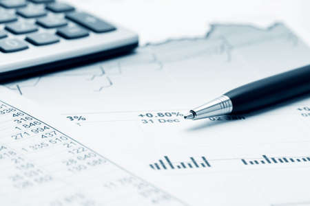 Stock market graphs and charts. Stock Photo
