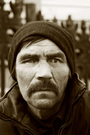 Homeless man in depression photo