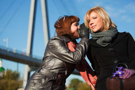 Two young women teeling secrets Stock Photo - 9071585