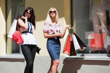 window shopper: Two young women shopping