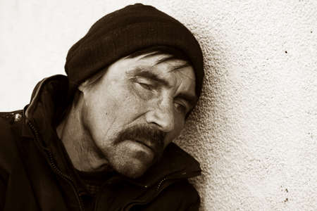 one eyed: Homeless man in depression