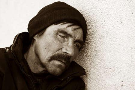 pauvre: Homme sans abri en d�pression Banque d'images