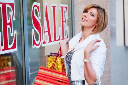 woman window: Window shopping Stock Photo