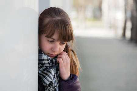 Teenage girl in depression photo