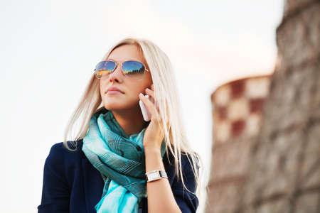 Zakenvrouw op de telefoon Stockfoto