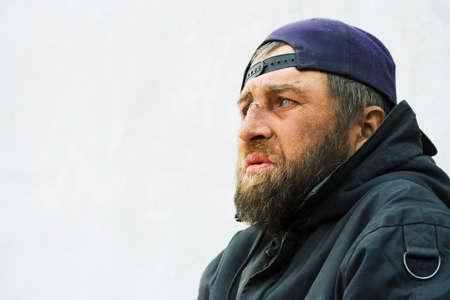 gente pobre: Hombre sin hogar Foto de archivo