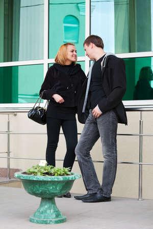 Young couple flirting photo