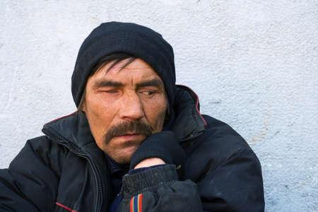 old beggar: Homeless man in depression