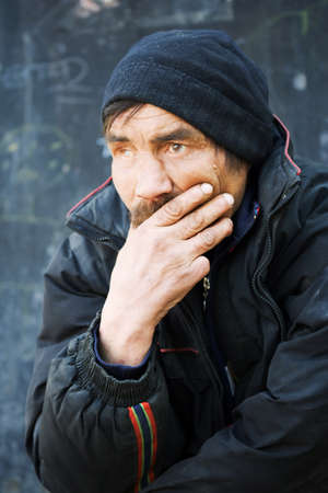 one eyed: Homeless man