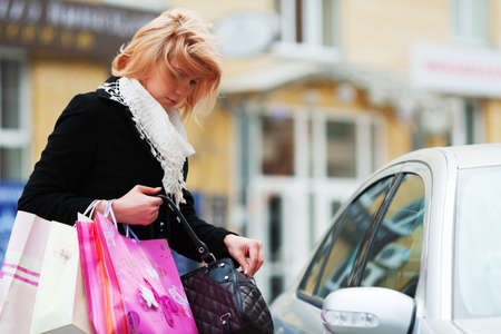 Shopper on a car parking Stock Photo - 10703700