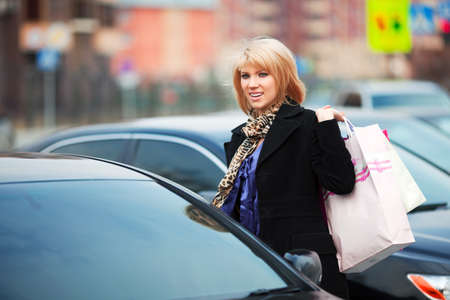 Shopper on a car parking photo