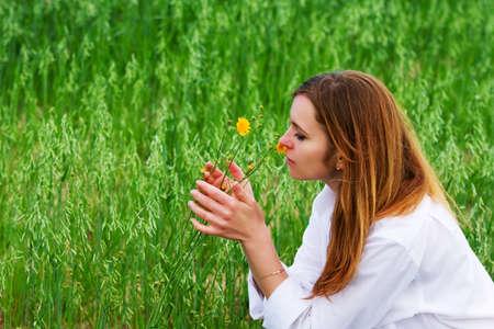 Happy woman on nature photo