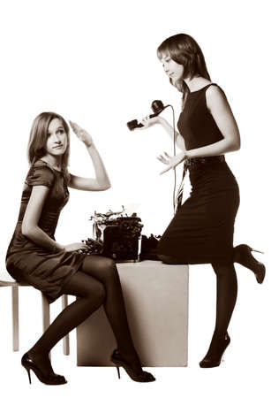 Two young retro secretaries  photo