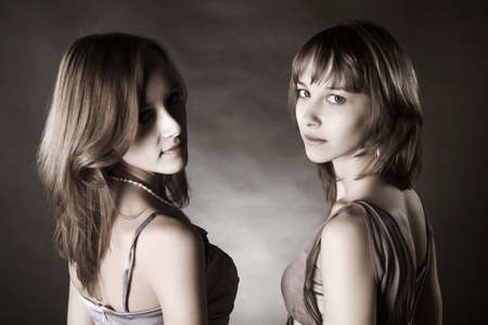 Two young beautiful women  photo