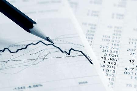 Stock market graphs and charts Stock Photo