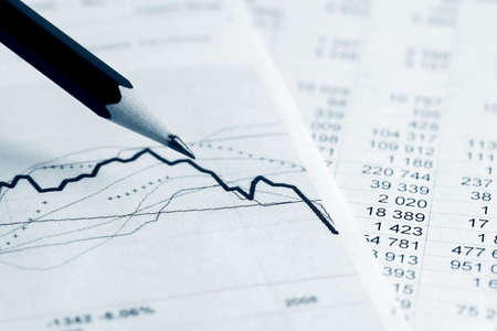 Stock market graphs and charts Stock Photo