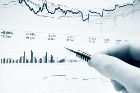 crisis management: Stock market graphs analysis Stock Photo