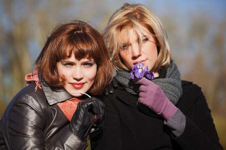 Two happy women outdoor photo