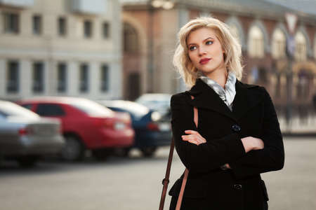 Young woman walking on the street Stock fotó
