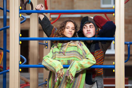 youth culture: Young hippie couple on the playground