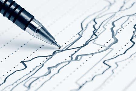 Finanzielle Graphen Analyse Standard-Bild
