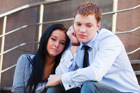 Young couple in depression photo