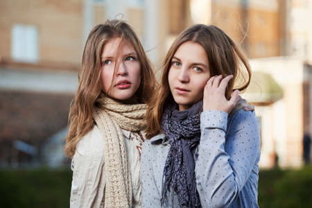 Young girls on a city street Stock Photo - 17421726