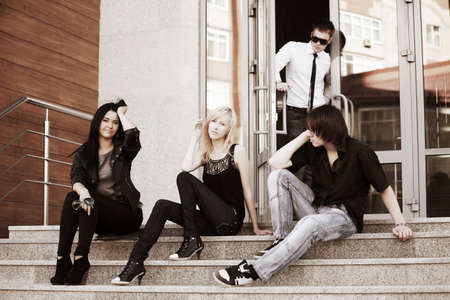 youth culture: Young people relaxing on the steps