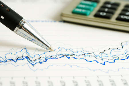 stock exchange: Financial graphs and charts analysis Stock Photo