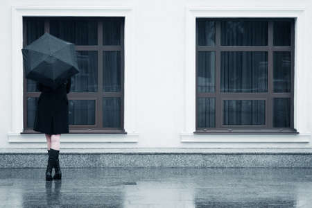 street fashion: Woman with umbrella in the rain