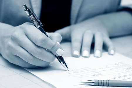 female form: Business woman signing contract