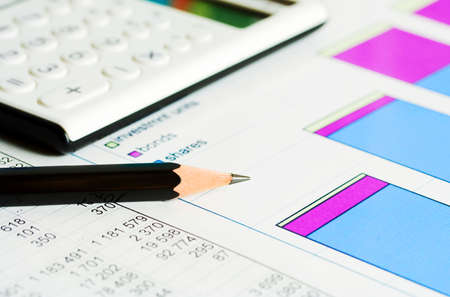 account management: Financial graphs and charts accounting Stock Photo