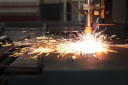 Industrial cnc plasma cutting of metal plate