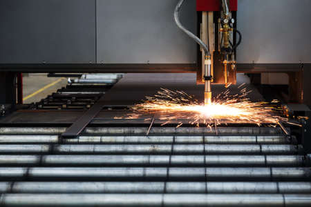 plasmas: Industrial cnc plasma cutting of metal plate