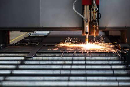 lasercutting: Industrial cnc plasma cutting of metal plate