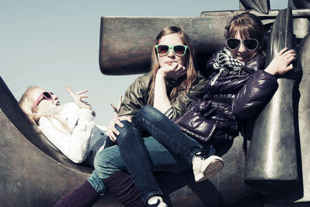 Group of happy teen girls outdoor Stock Photo